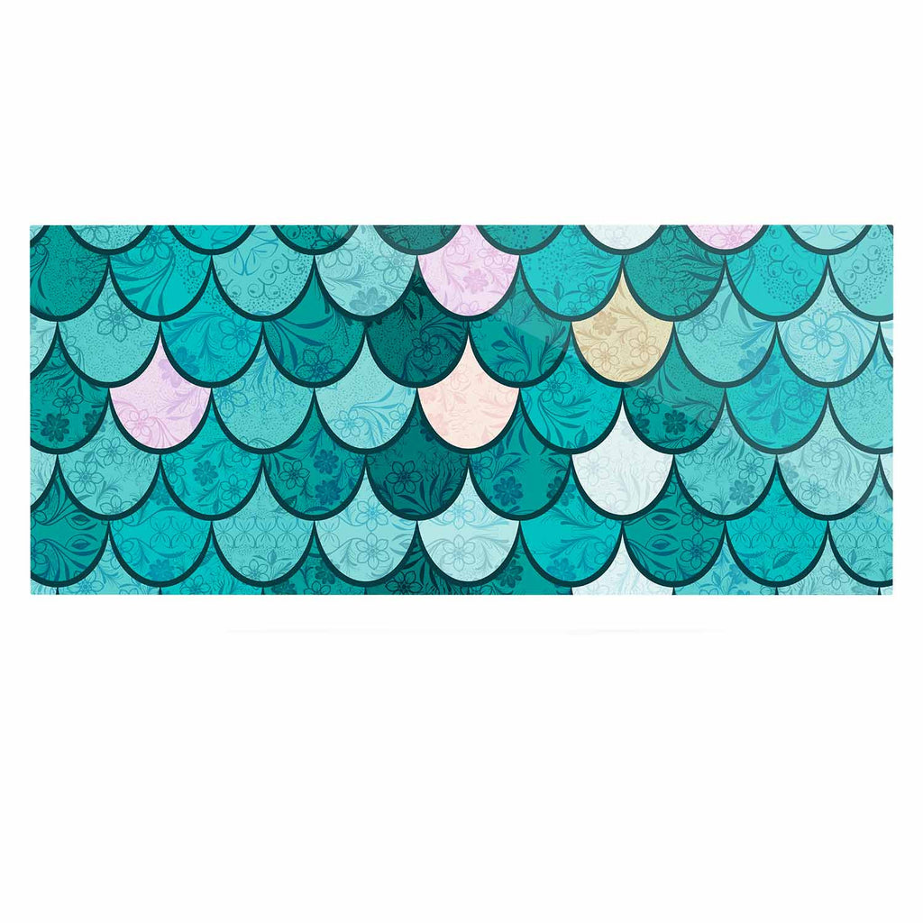 "Famenxt ""Mermaid Fish Scales"" Teal Nautical Illustration Luxe Rectangle Panel"