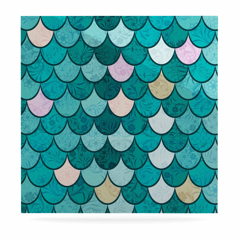 "Famenxt ""Mermaid Fish Scales"" Teal Nautical Illustration Luxe Square Panel"