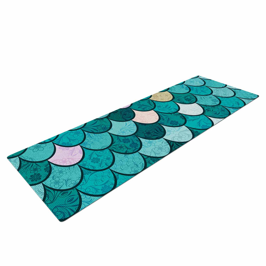 "Famenxt ""Mermaid Fish Scales"" Teal Nautical Illustration Yoga Mat"