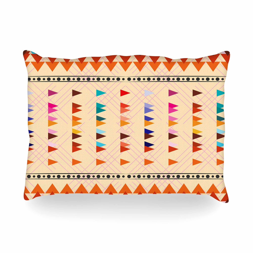 "Famenxt ""Bohemian Triangle Pattern"" Orange Pastel Illustration Oblong Pillow"