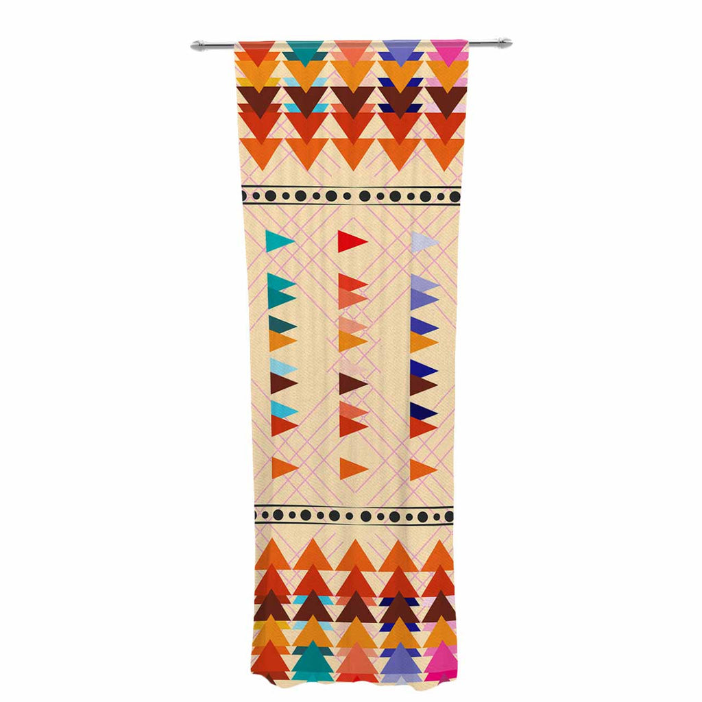 "Famenxt ""Bohemian Triangle Pattern"" Orange Pastel Illustration Decorative Sheer Curtain"