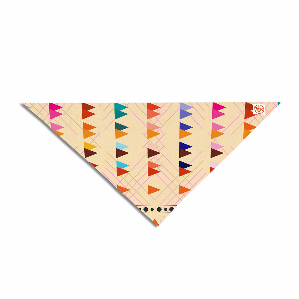 "Famenxt ""Bohemian Triangle Pattern"" Orange Pastel Illustration Pet Bandana"