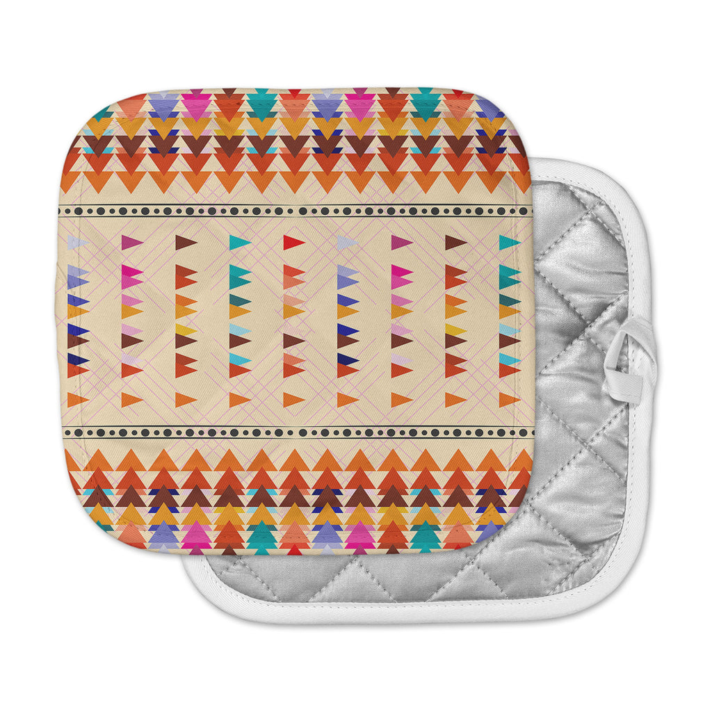"Famenxt ""Bohemian Triangle Pattern"" Orange Pastel Illustration Pot Holder"