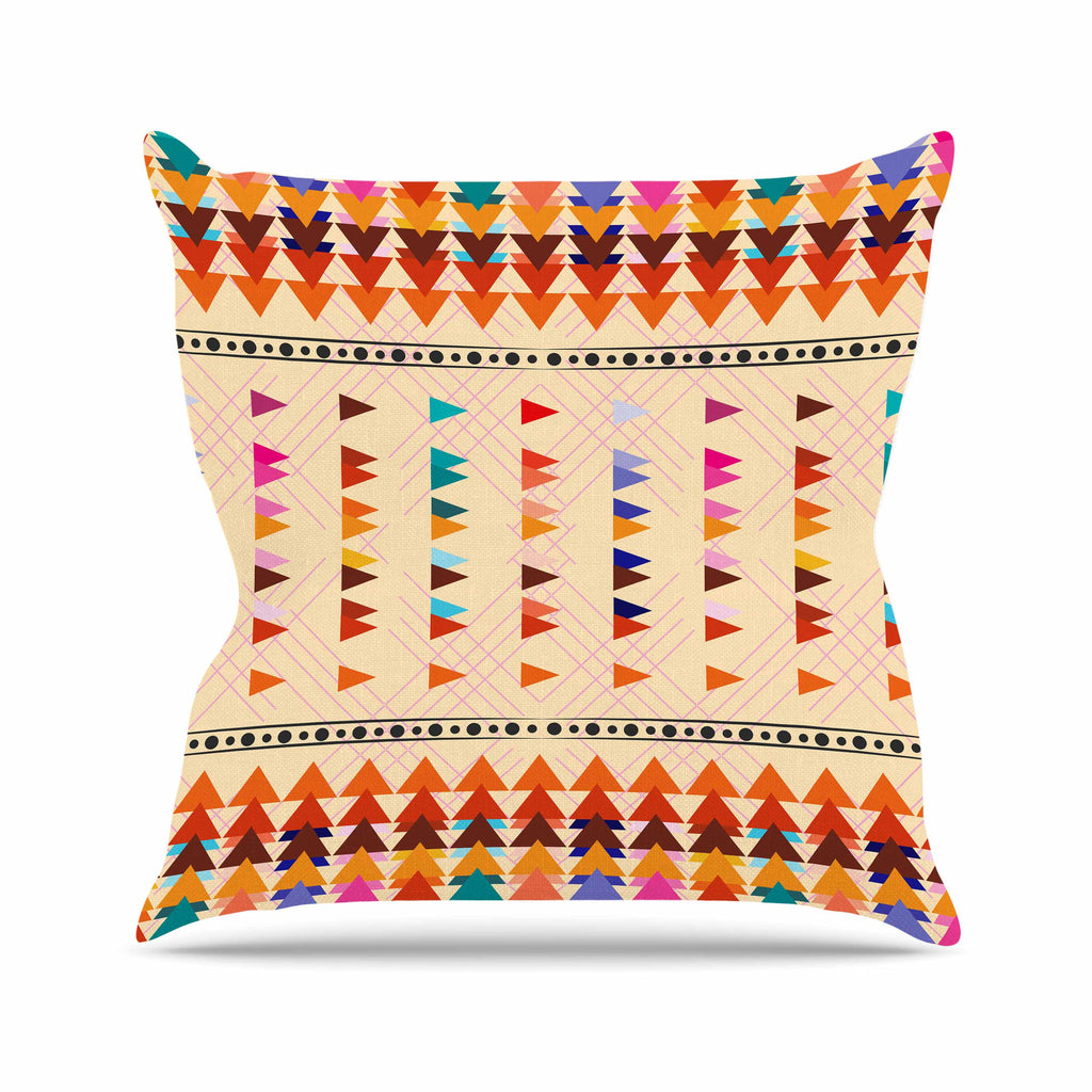 "Famenxt ""Bohemian Triangle Pattern"" Orange Pastel Illustration Outdoor Throw Pillow"