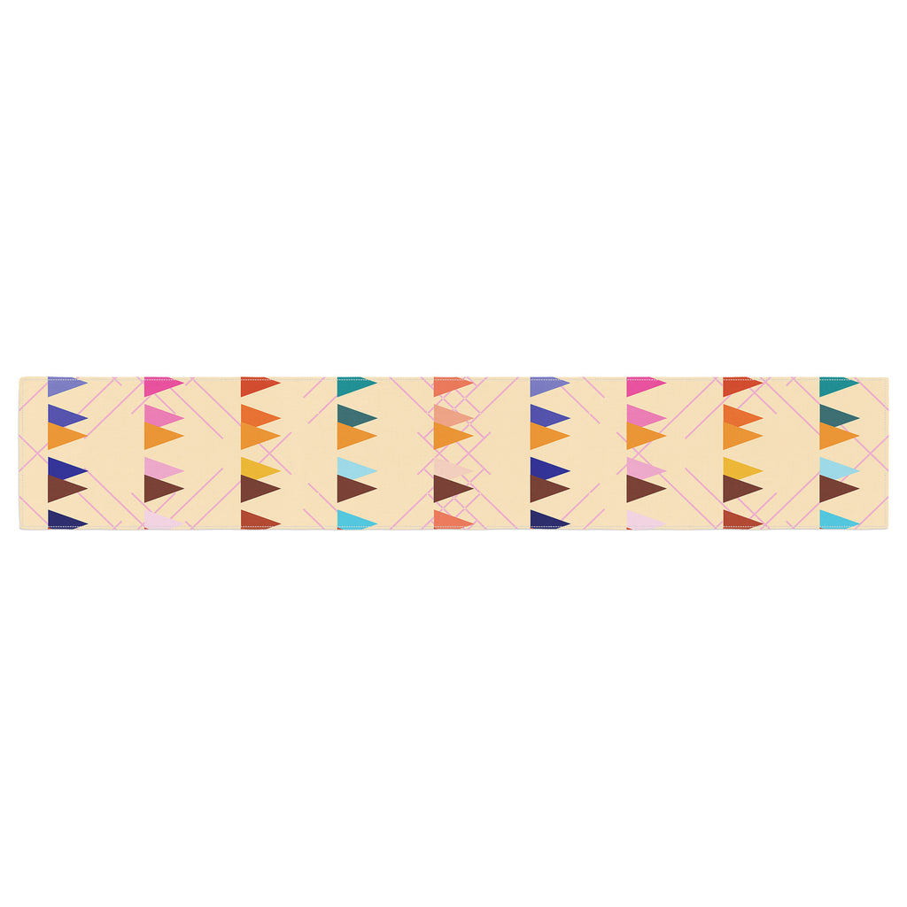 "Famenxt ""Bohemian Triangle Pattern"" Orange Pastel Illustration Table Runner"