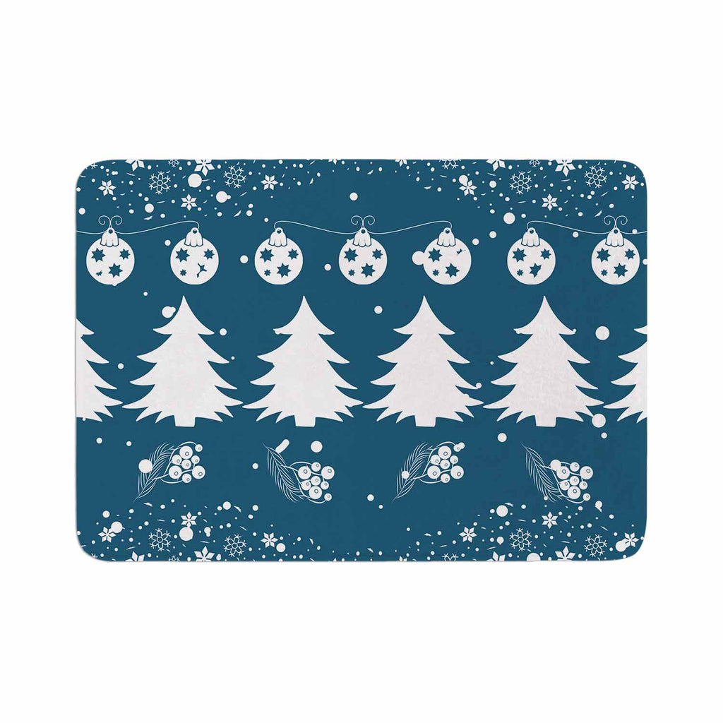 "Famenxt ""Merry Merry Christmas"" Blue White Holiday Illustration Memory Foam Bath Mat"