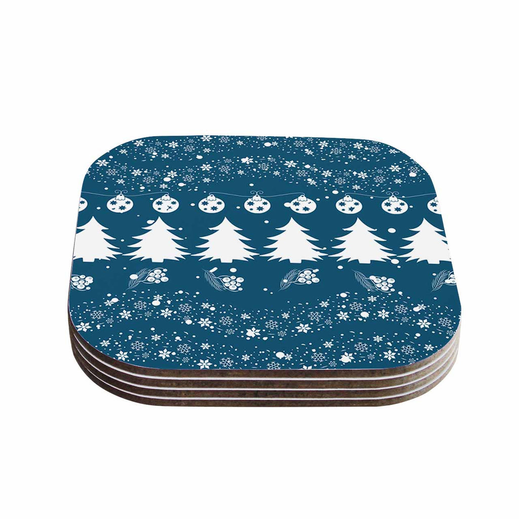 "Famenxt ""Merry Merry Christmas"" Blue White Holiday Illustration Coasters (Set of 4)"