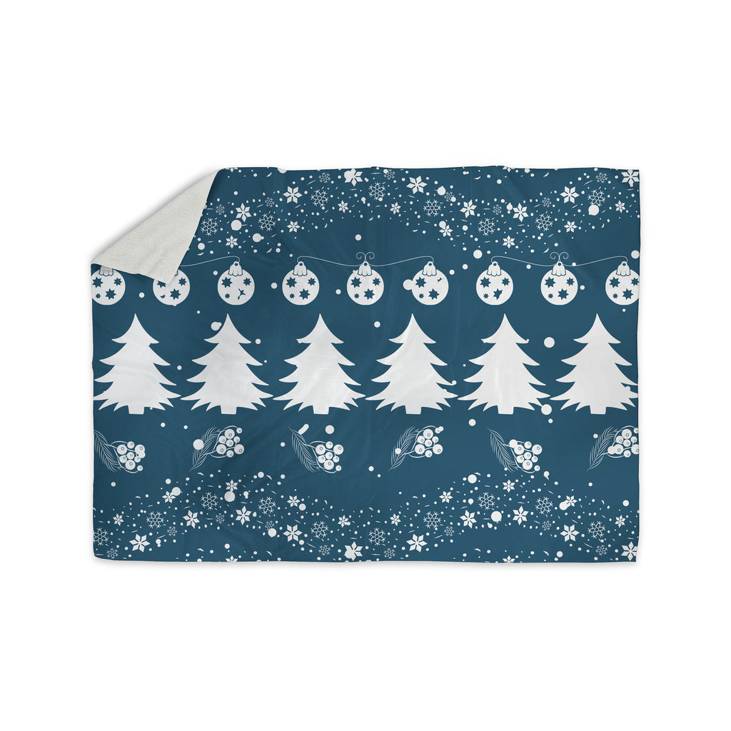 "Famenxt ""Merry Merry Christmas"" Blue White Holiday Illustration Sherpa Blanket - KESS InHouse"