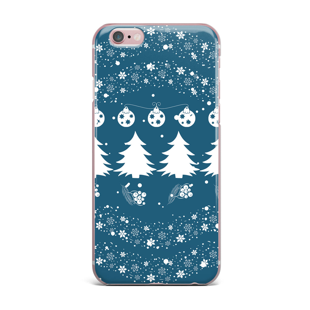 "Famenxt ""Merry Merry Christmas"" Blue White Holiday Illustration iPhone Case - KESS InHouse"