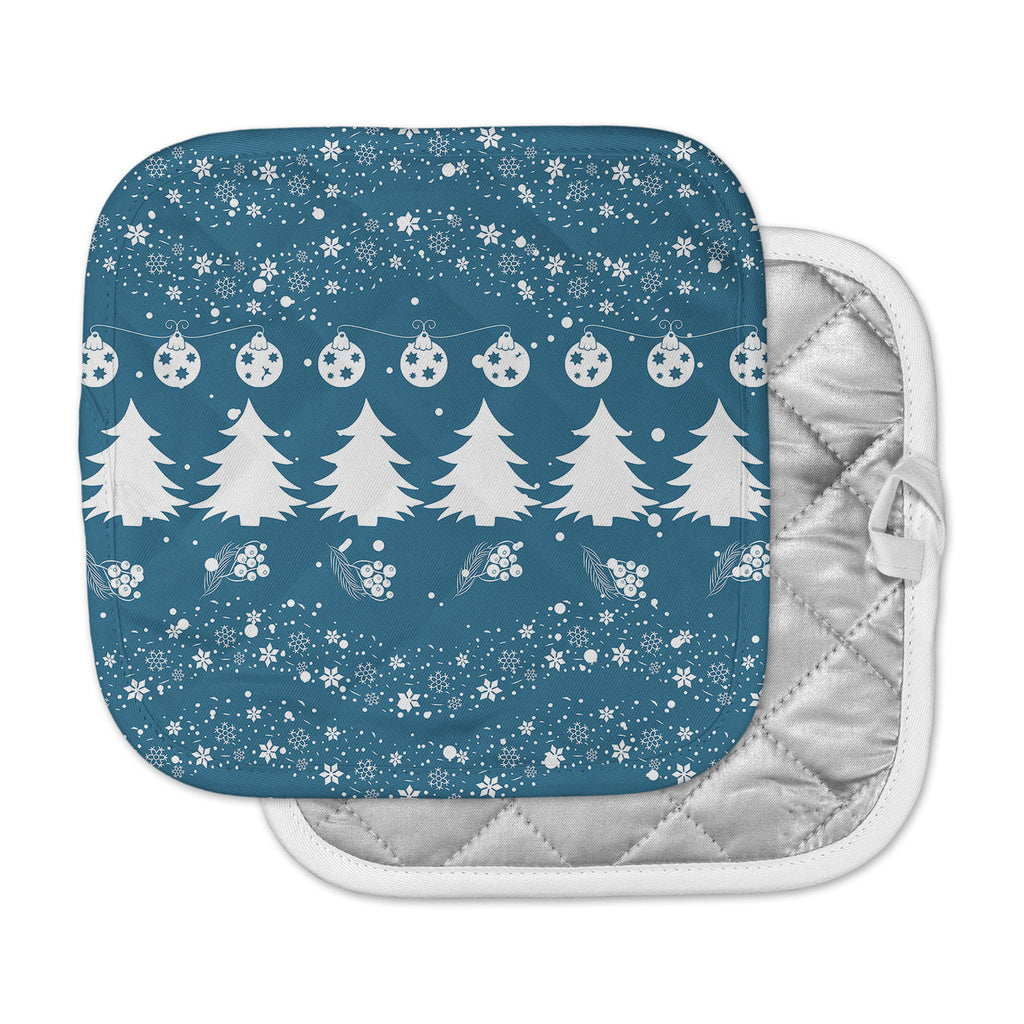 "Famenxt ""Merry Merry Christmas"" Blue White Holiday Illustration Pot Holder"