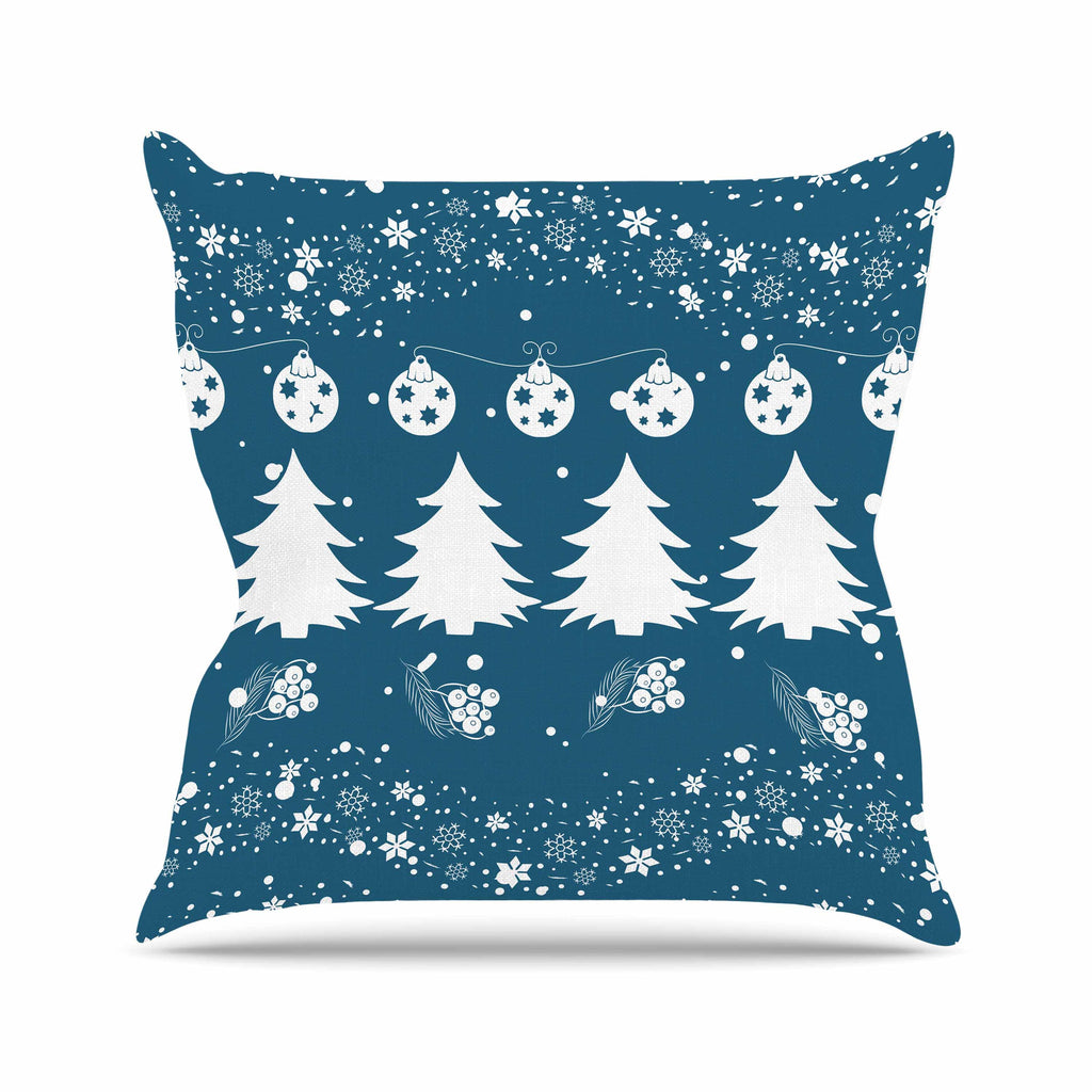 "Famenxt ""Merry Merry Christmas"" Blue White Holiday Illustration Throw Pillow"