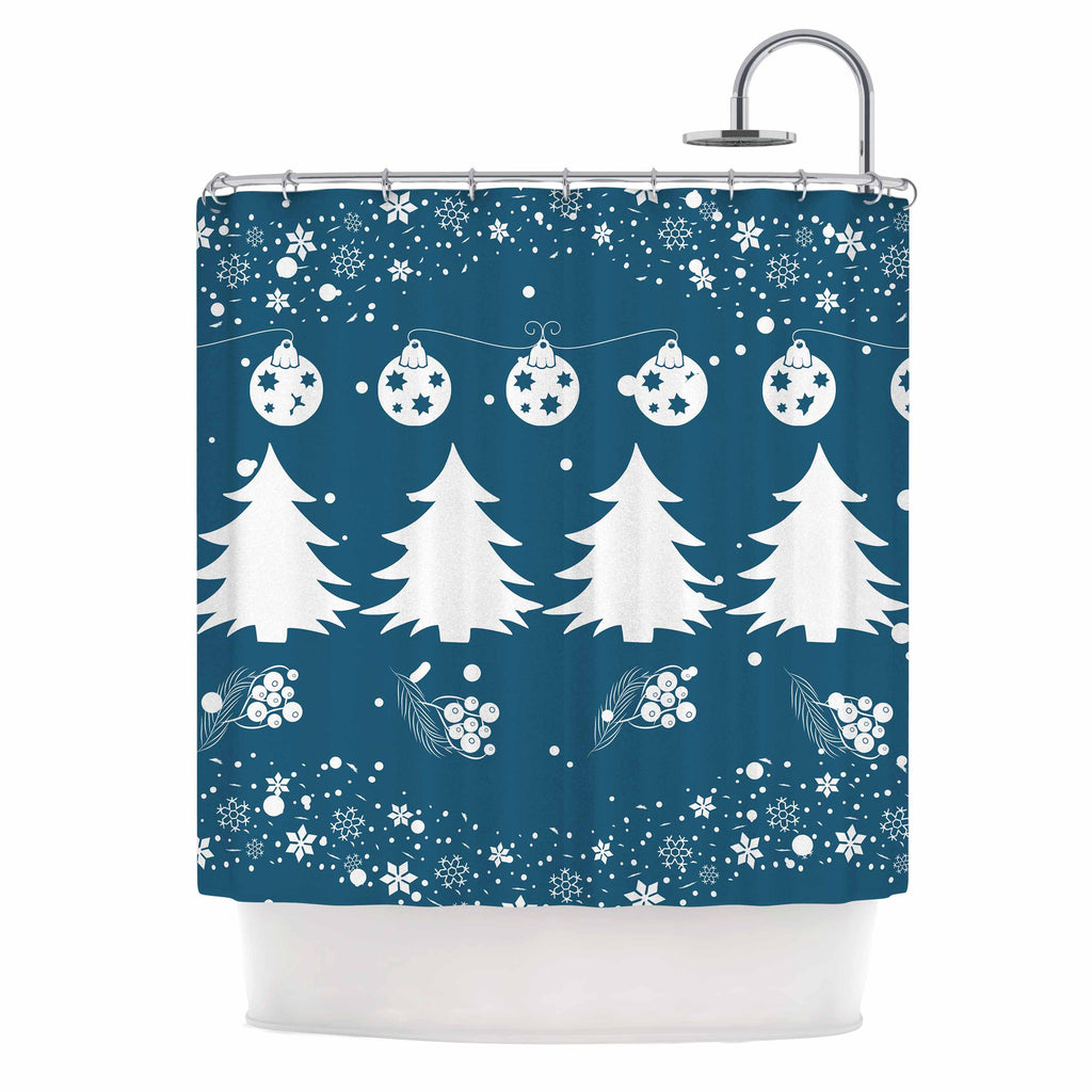 "Famenxt ""Merry Merry Christmas"" Blue White Holiday Illustration Shower Curtain"