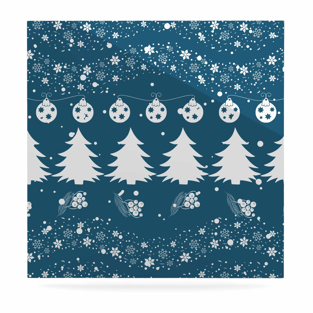 "Famenxt ""Merry Merry Christmas"" Blue White Holiday Illustration Luxe Square Panel"