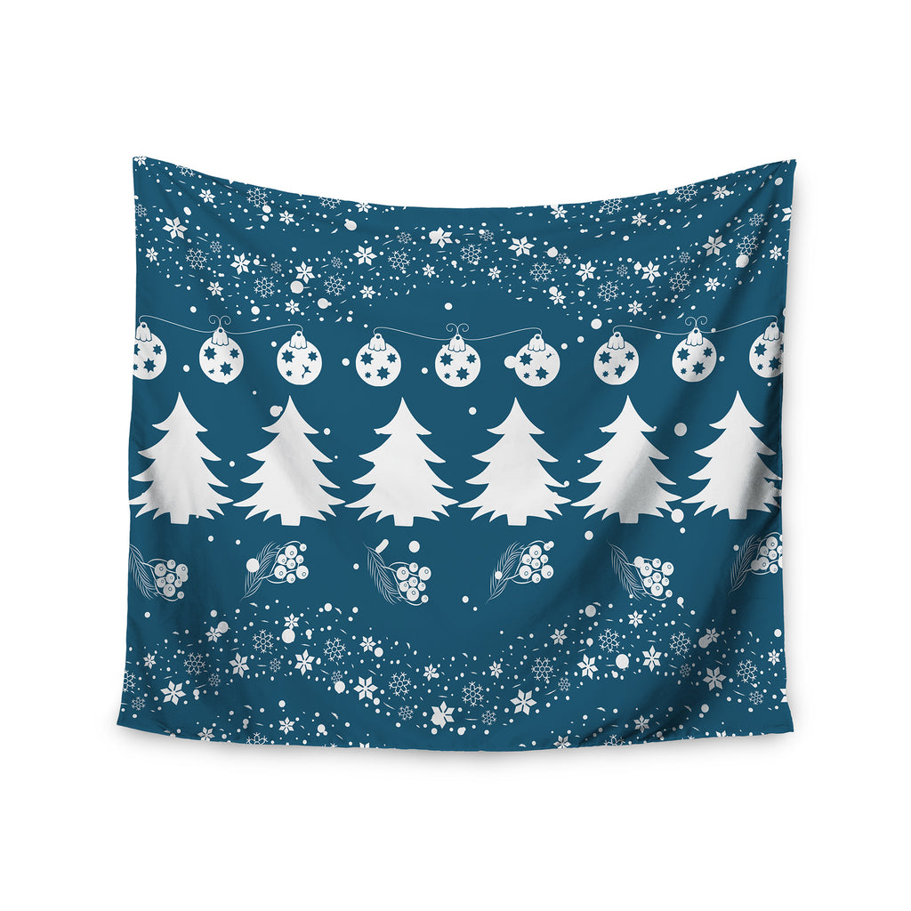 "Famenxt ""Merry Merry Christmas"" Blue White Holiday Illustration Wall Tapestry - KESS InHouse  - 1"