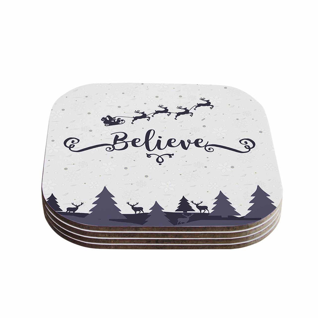 "Famenxt ""Christmas Believe"" Gray Lavender Illustration Coasters (Set of 4)"