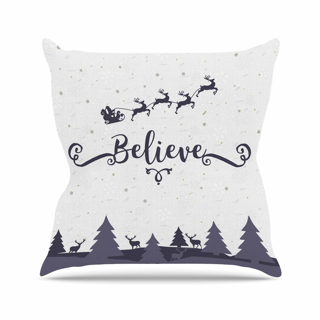 "Famenxt ""Christmas Believe"" Gray Lavender Illustration Throw Pillow"