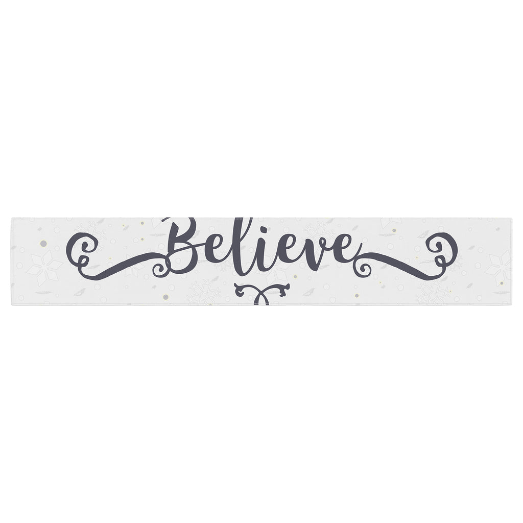 "Famenxt ""Christmas Believe"" Gray Lavender Illustration Table Runner"