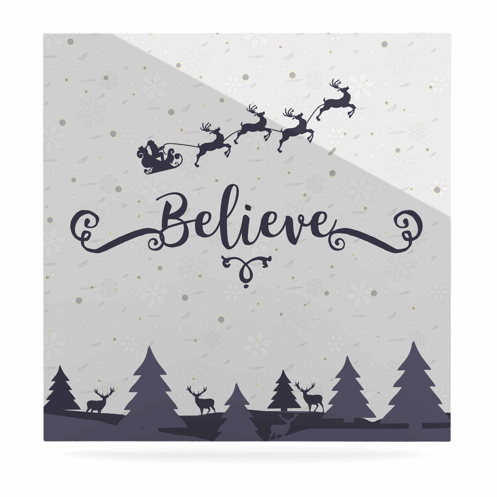 "Famenxt ""Christmas Believe"" Gray Lavender Illustration Luxe Square Panel"