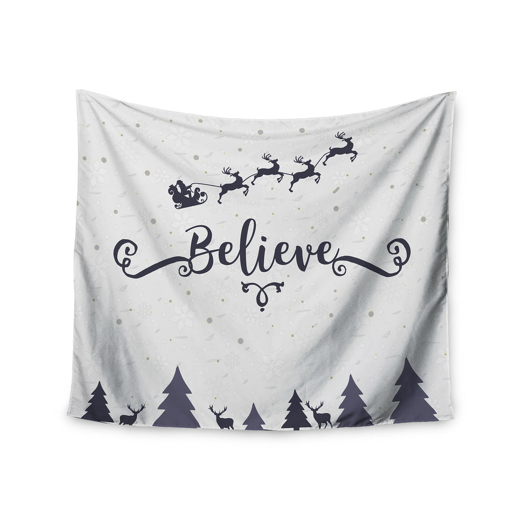 "Famenxt ""Christmas Believe"" Gray Lavender Illustration Wall Tapestry - KESS InHouse  - 1"