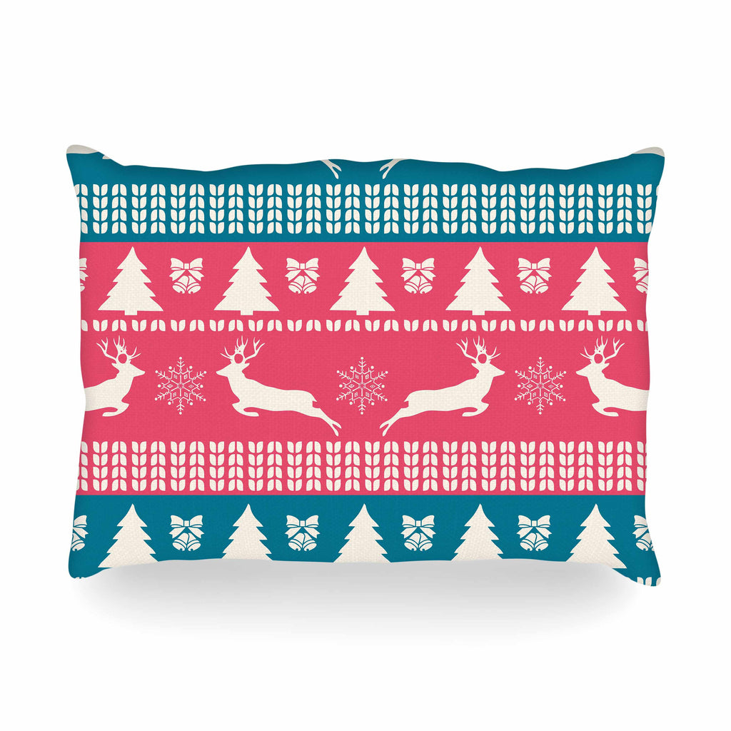 "Famenxt ""Christmas Blue Red"" Blue Red Illustration Oblong Pillow"