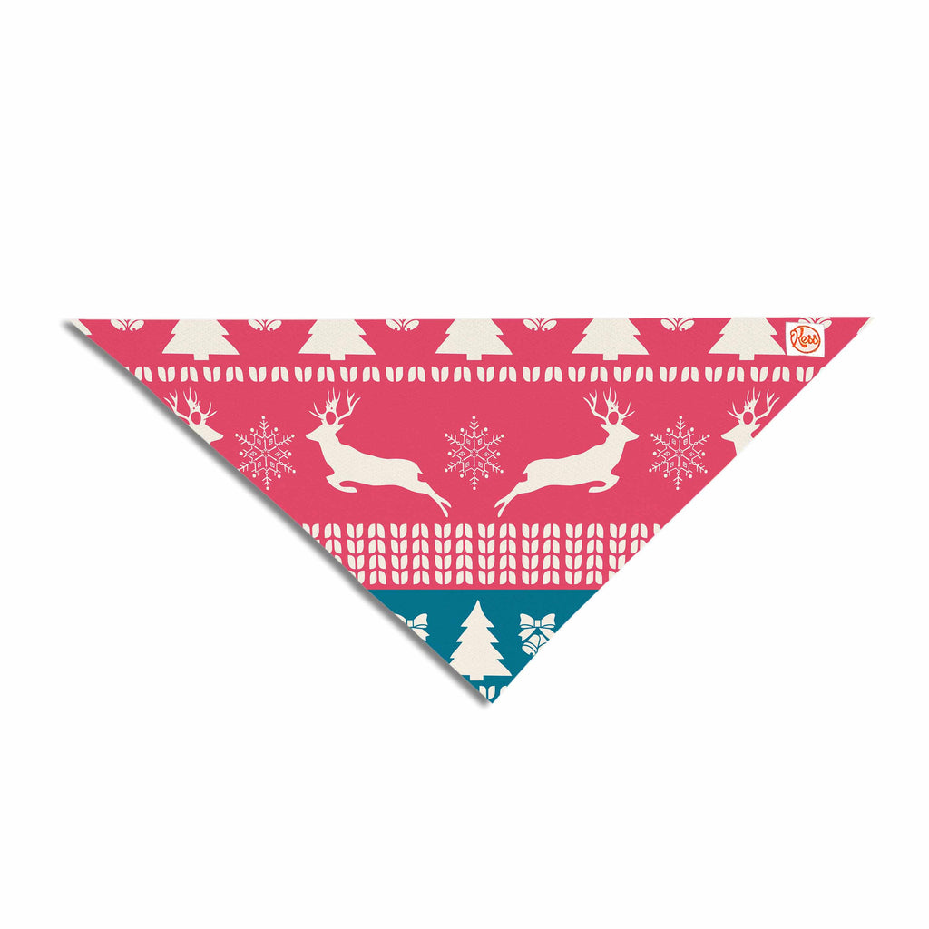 "Famenxt ""Christmas Blue Red"" Blue Red Illustration Pet Bandana"