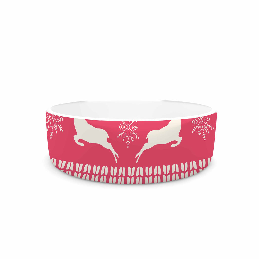 "Famenxt ""Christmas Blue Red"" Blue Red Illustration Pet Bowl"