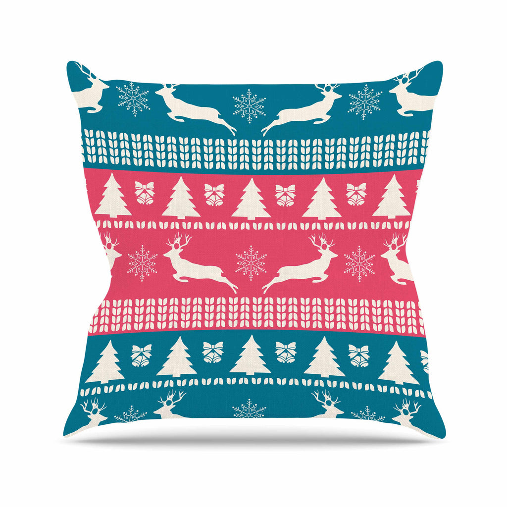 "Famenxt ""Christmas Blue Red"" Blue Red Illustration Outdoor Throw Pillow"