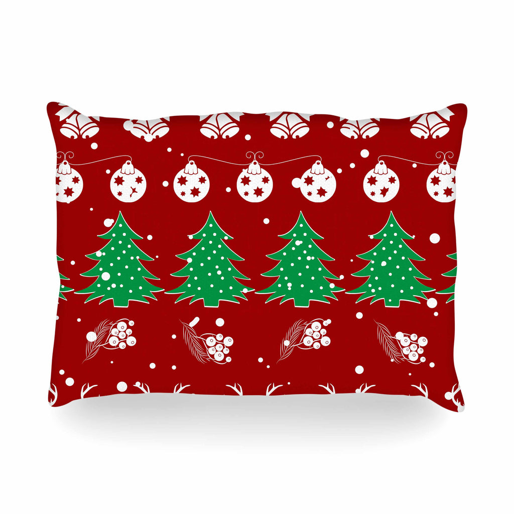 "Famenxt ""Christmas Vibes Red"" Red Green Illustration Oblong Pillow"