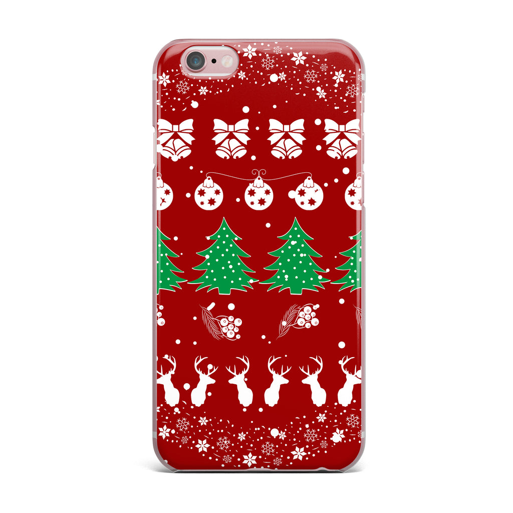 "Famenxt ""Christmas Vibes Red"" Red Green Illustration iPhone Case - KESS InHouse"