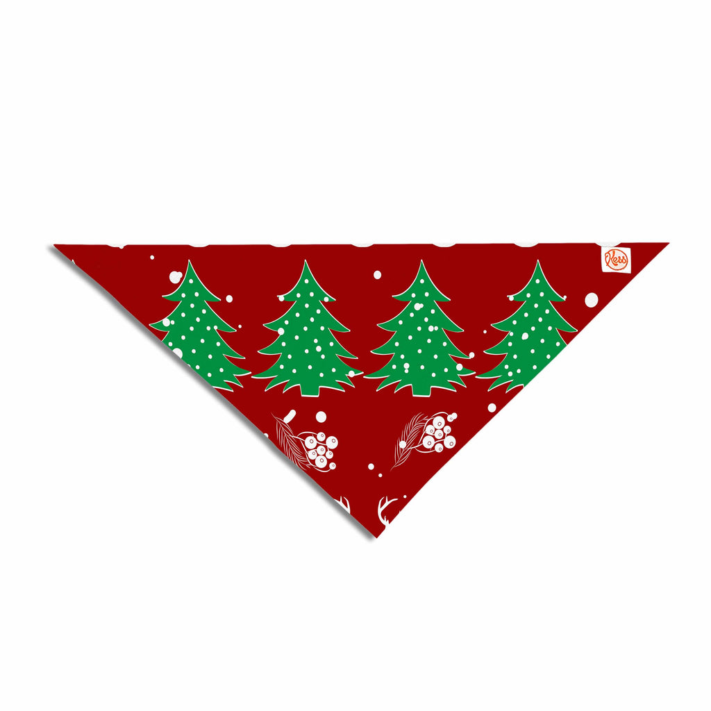 "Famenxt ""Christmas Vibes Red"" Red Green Illustration Pet Bandana - Outlet Item"