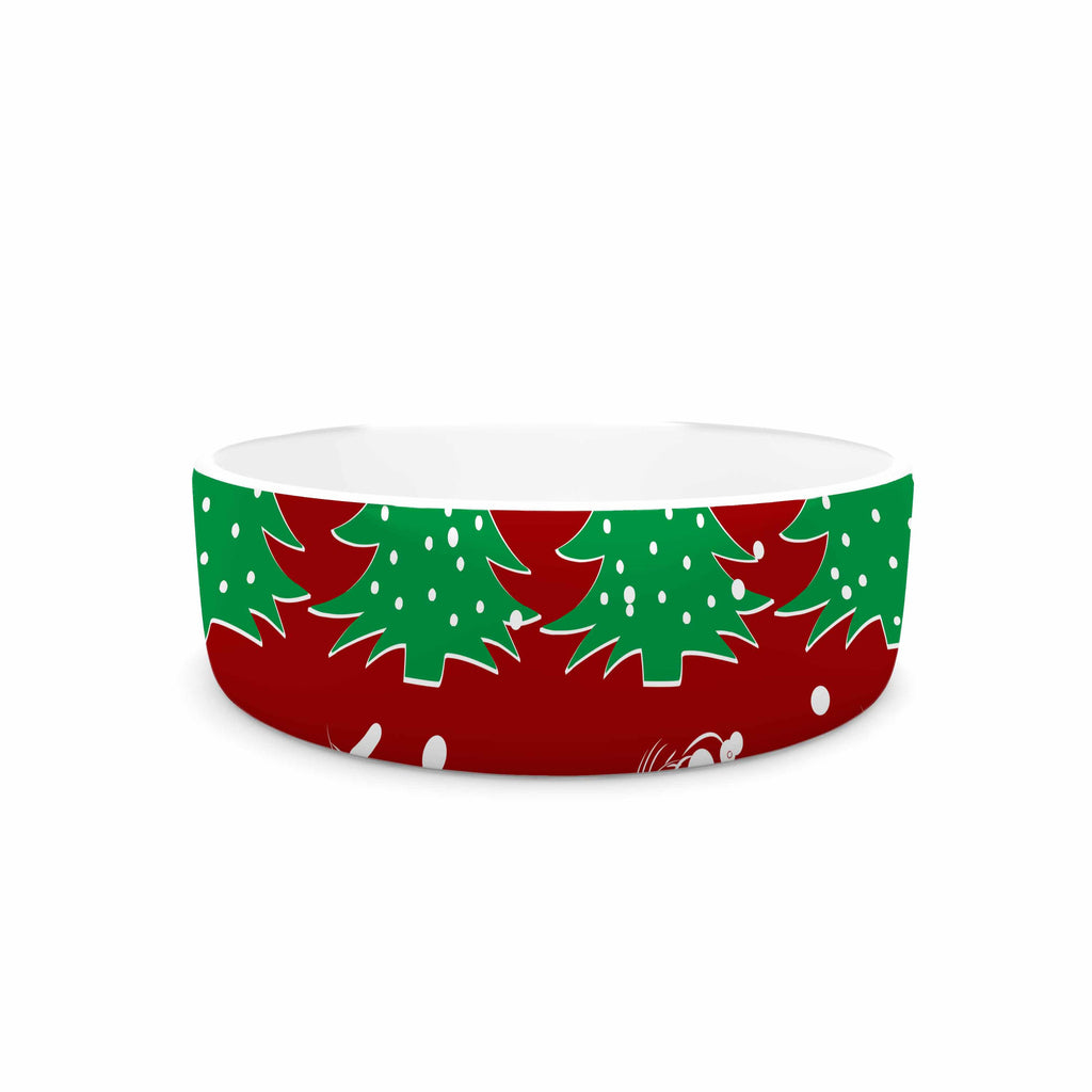 "Famenxt ""Christmas Vibes Red"" Red Green Illustration Pet Bowl"
