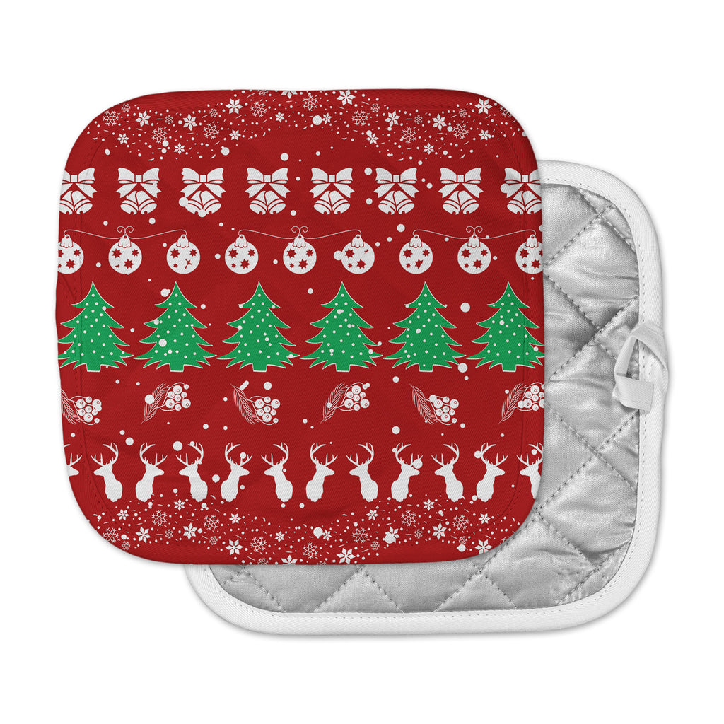 "Famenxt ""Christmas Vibes Red"" Red Green Illustration Pot Holder"