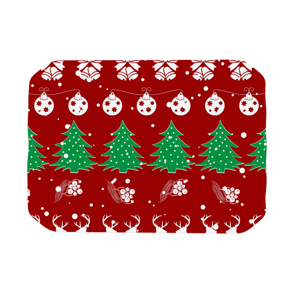 "Famenxt ""Christmas Vibes Red"" Red Green Illustration Place Mat"