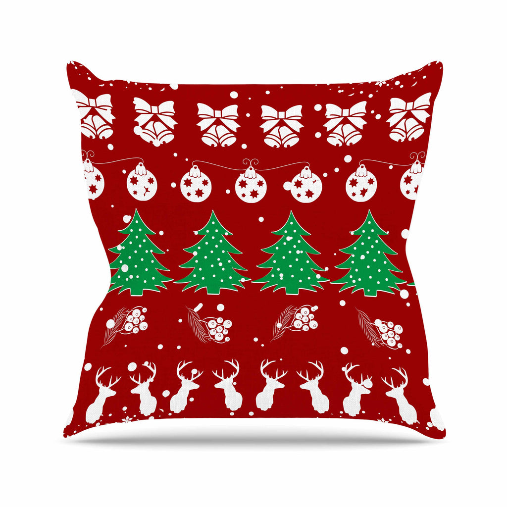 "Famenxt ""Christmas Vibes Red"" Red Green Illustration Outdoor Throw Pillow"