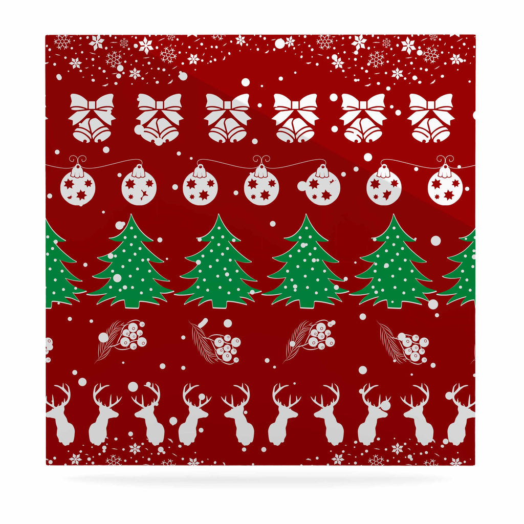 "Famenxt ""Christmas Vibes Red"" Red Green Illustration Luxe Square Panel"