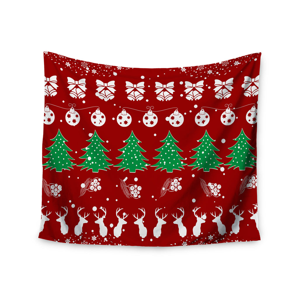 "Famenxt ""Christmas Vibes Red"" Red Green Illustration Wall Tapestry - KESS InHouse  - 1"