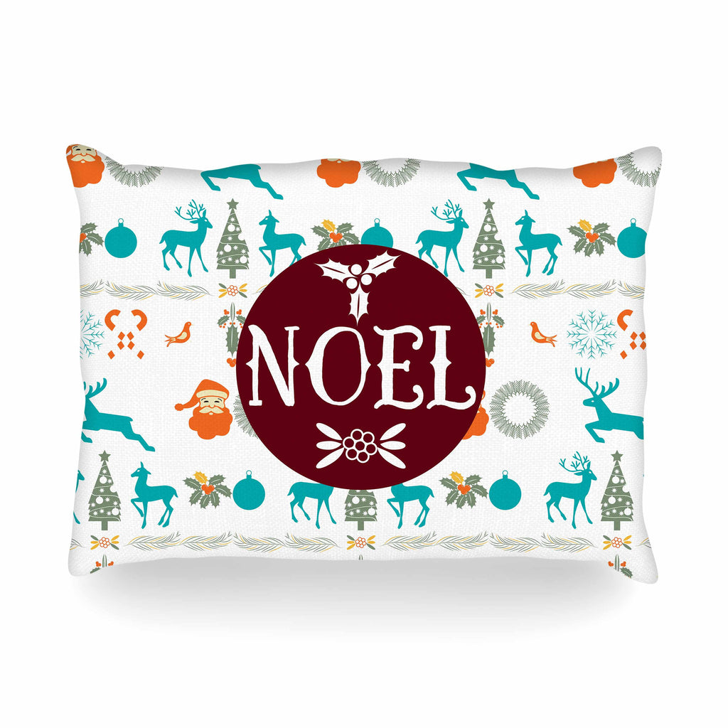 "Famenxt ""Noel"" Blue White Digital Oblong Pillow"