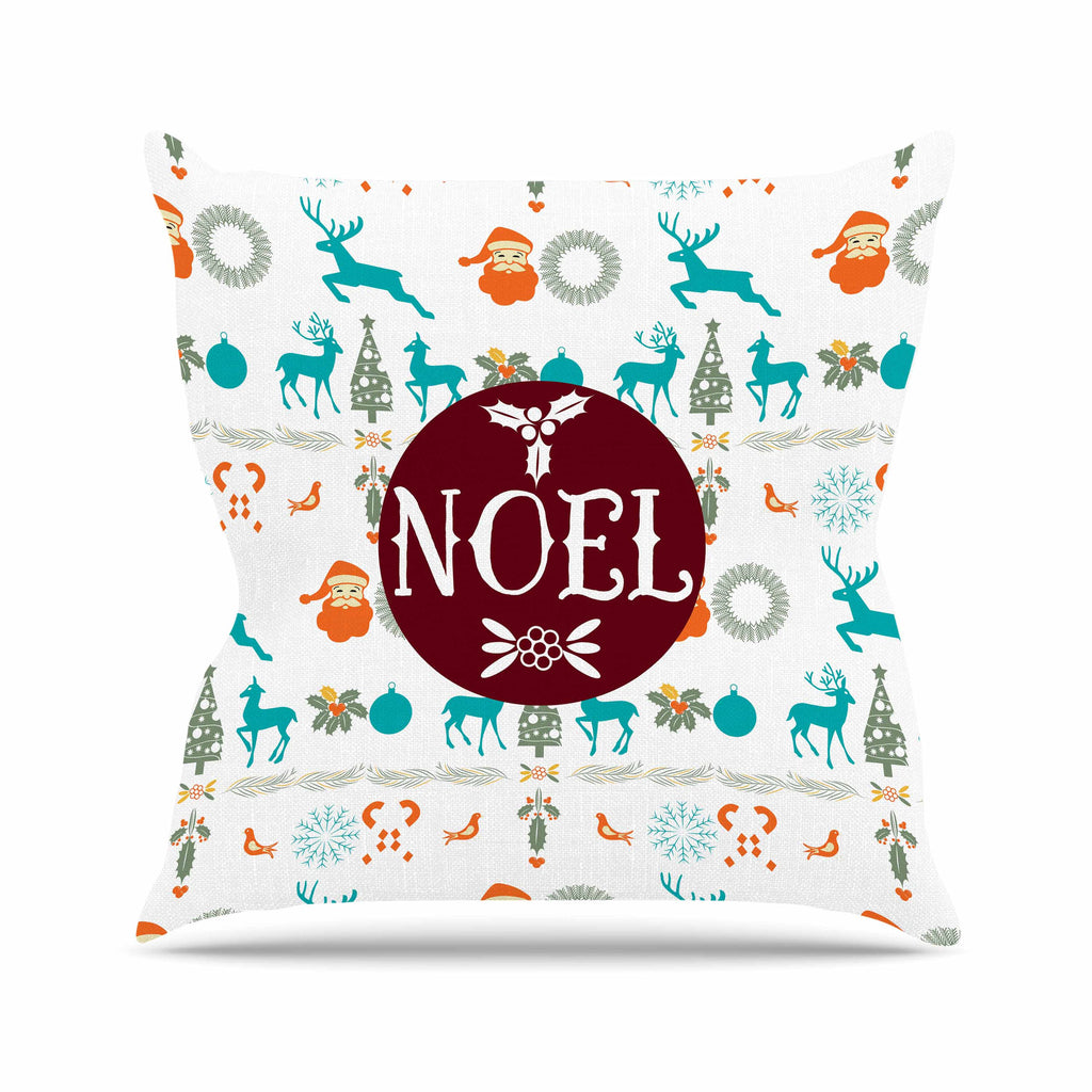 "Famenxt ""Noel"" Blue White Digital Outdoor Throw Pillow"
