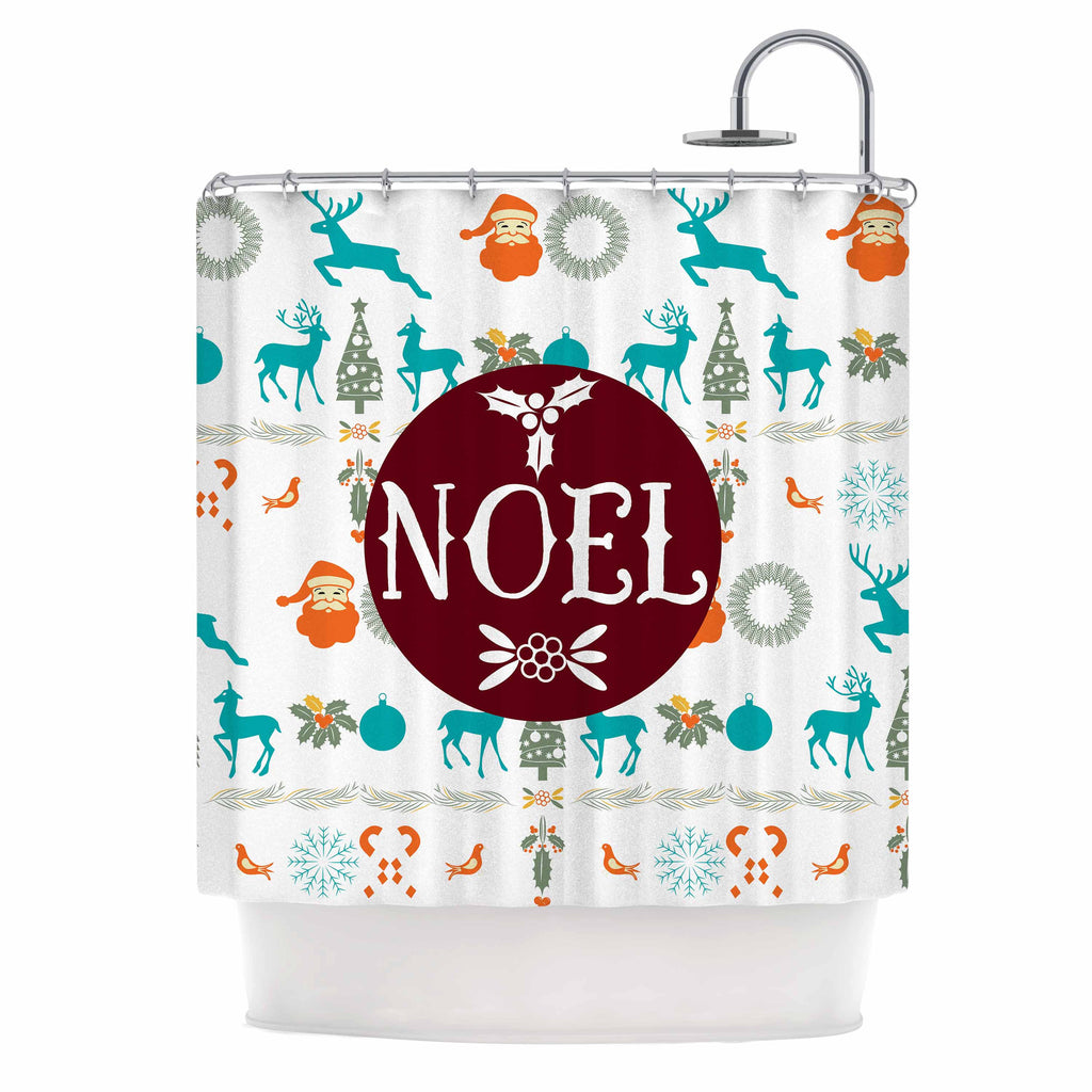 "Famenxt ""Noel"" Blue White Digital Shower Curtain"