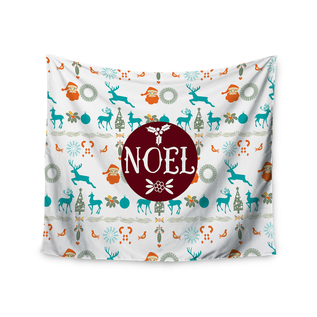 "Famenxt ""Noel"" Blue White Digital Wall Tapestry - KESS InHouse  - 1"