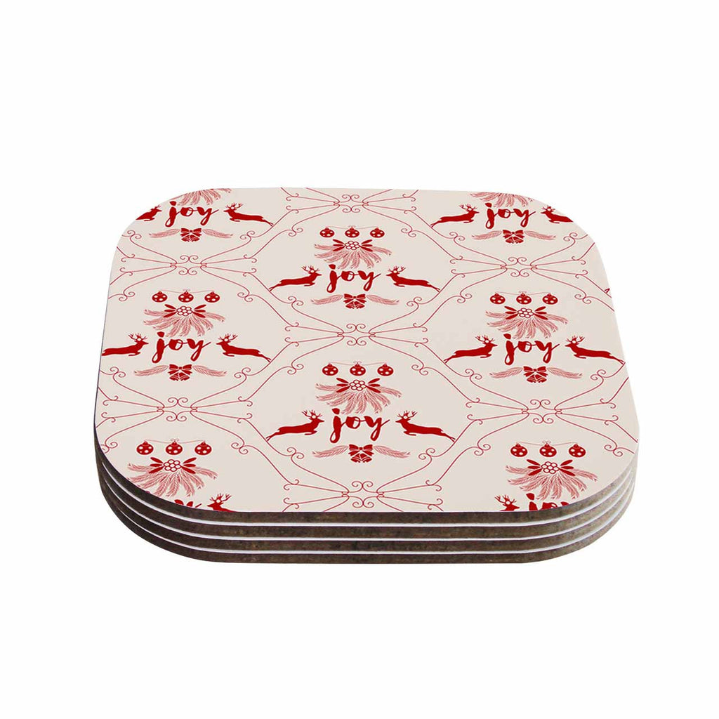 "Famenxt ""Christmas Joy Pattern"" Red Beige Digital Coasters (Set of 4)"