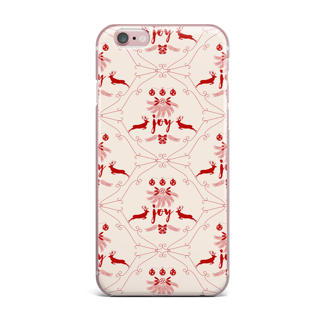 "Famenxt ""Christmas Joy Pattern"" Red Beige Digital iPhone Case - KESS InHouse"