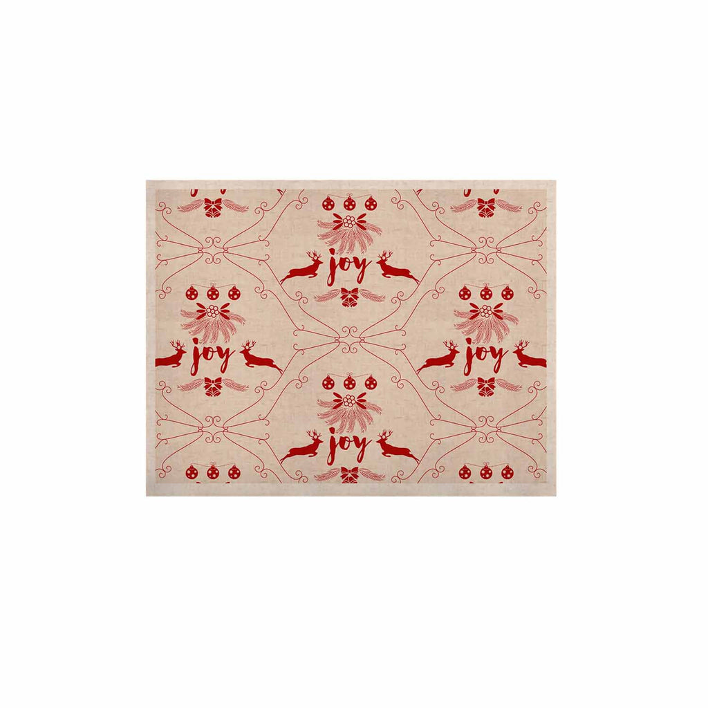 "Famenxt ""Christmas Joy Pattern"" Red Beige Digital KESS Naturals Canvas (Frame not Included)"