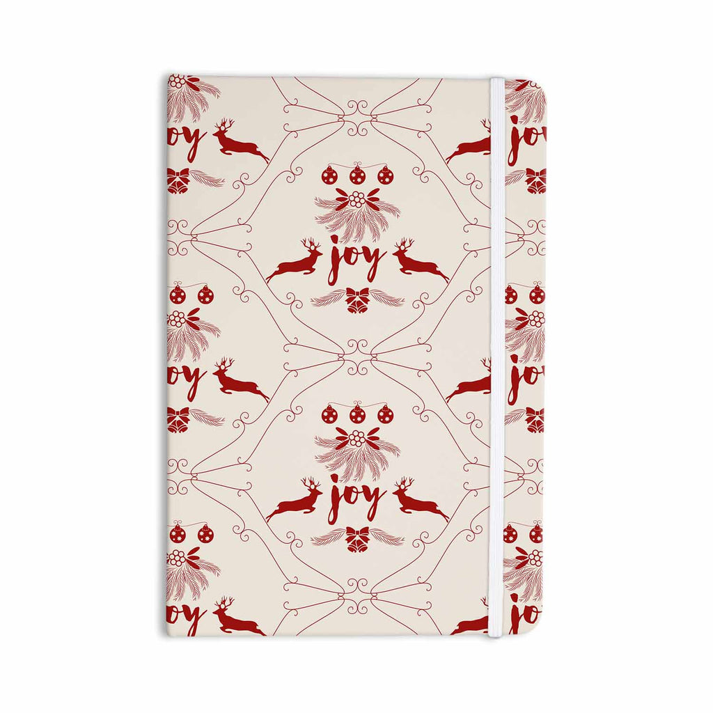 "Famenxt ""Christmas Joy Pattern"" Red Beige Digital Everything Notebook - KESS InHouse  - 1"