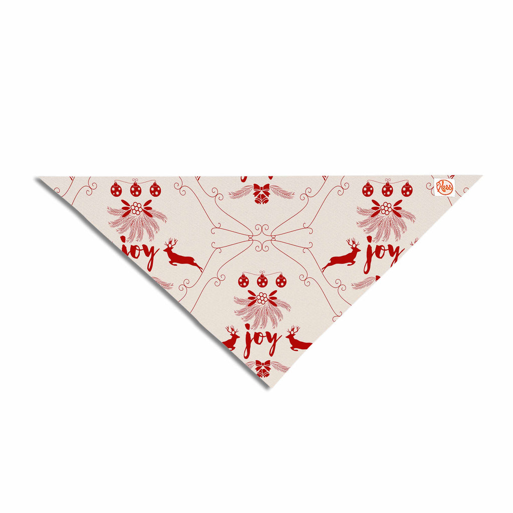 "Famenxt ""Christmas Joy Pattern"" Red Beige Digital Pet Bandana"