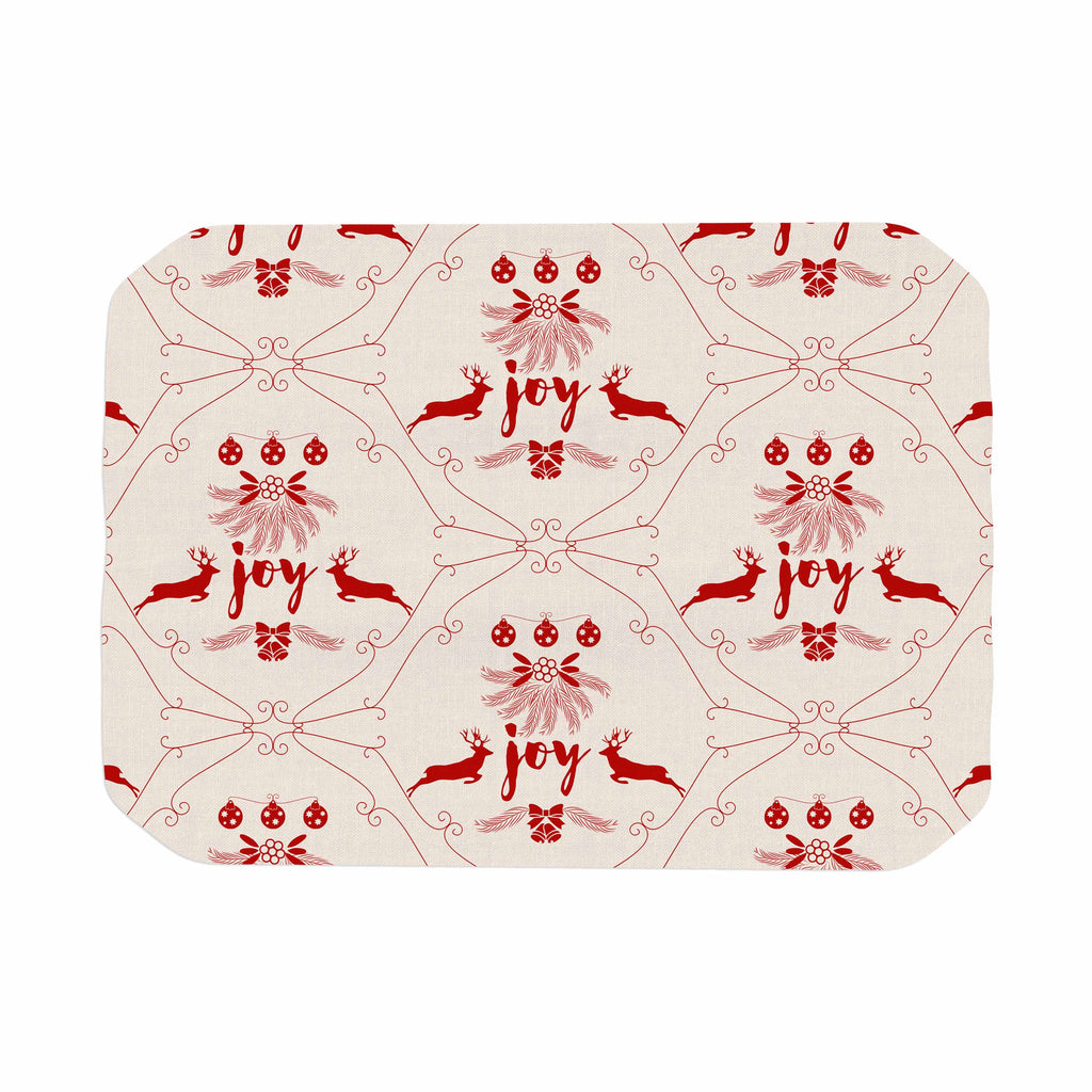 "Famenxt ""Christmas Joy Pattern"" Red Beige Digital Place Mat"