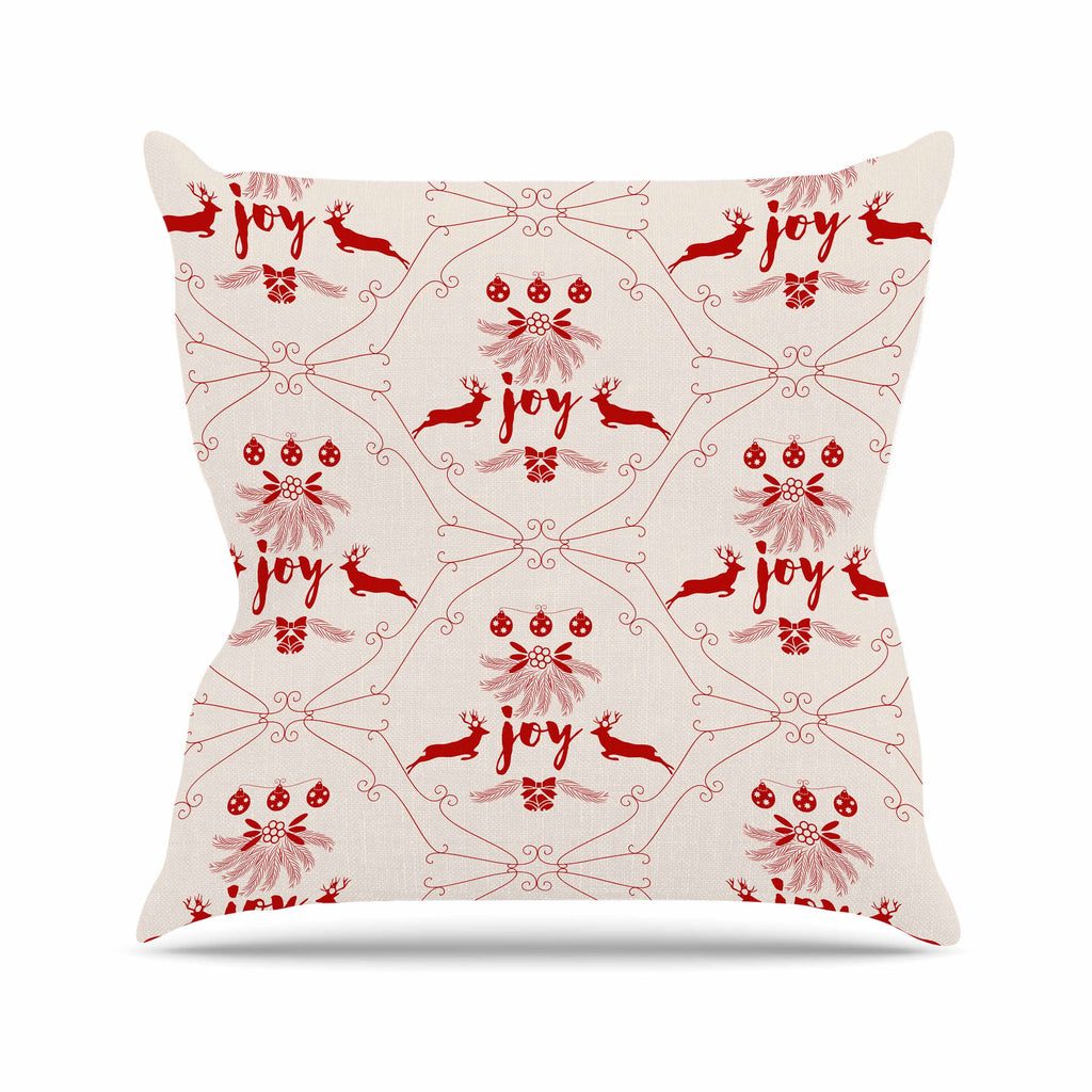 "Famenxt ""Christmas Joy Pattern"" Red Beige Digital Outdoor Throw Pillow"