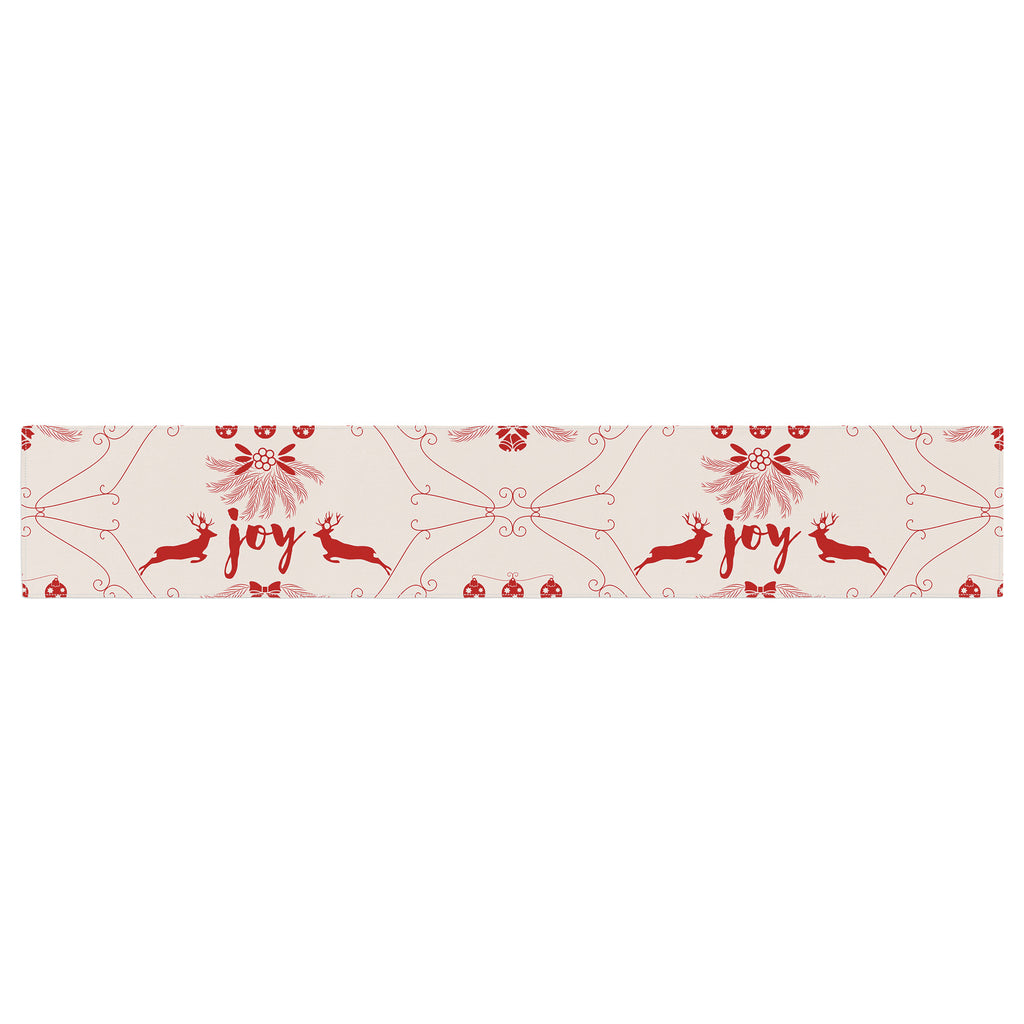 "Famenxt ""Christmas Joy Pattern"" Red Beige Digital Table Runner"