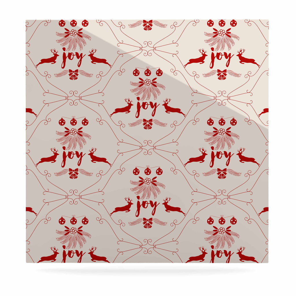 "Famenxt ""Christmas Joy Pattern"" Red Beige Digital Luxe Square Panel"