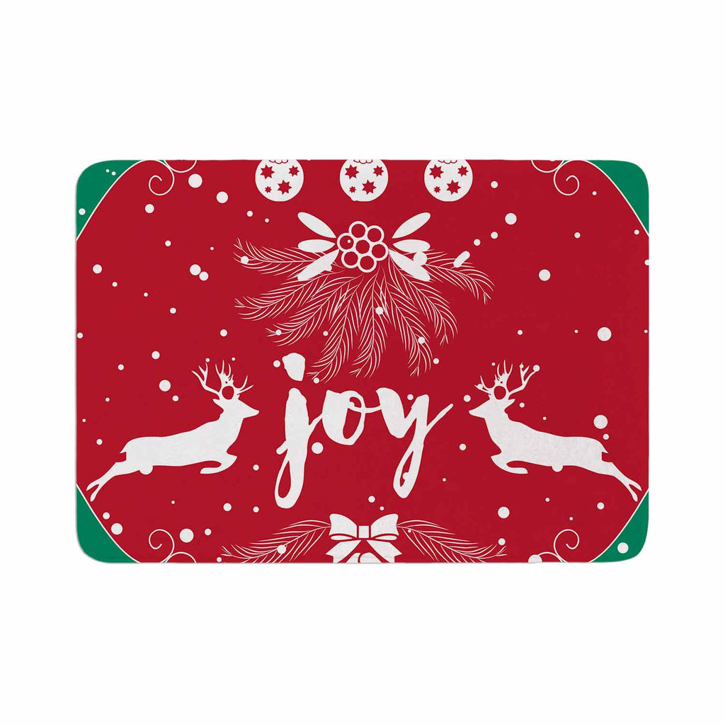 "Famenxt ""Christmas Joy"" Red Green Digital Memory Foam Bath Mat"